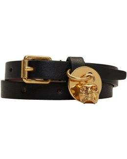 Black & Gold Skull Double Wrap Bracelet