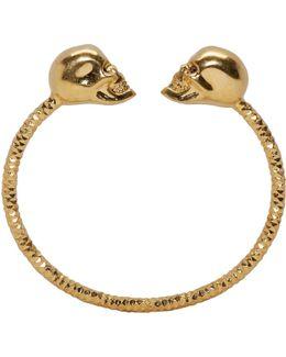 Gold Twin Skull Bracelet