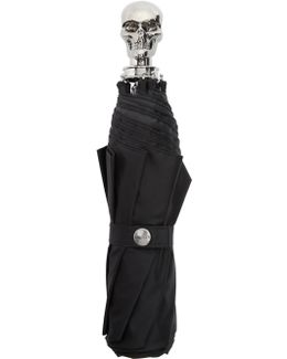 Black & Silver Collapsible Skull Umbrella