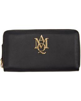 Black Insignia Continental Zip Around Wallet