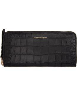 Black Croc-embossed Continental Zip Around Wallet