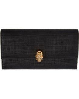 Black Lino Skull Continental Flap Wallet