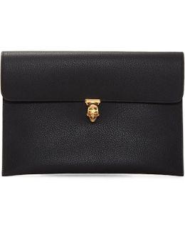 Black Skull Envelope Clutch