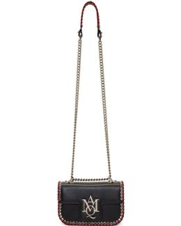 Black Small Whipstitch Insignia Satchel