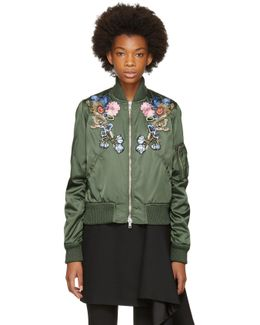 Green Floral Embroidered Bomber Jacket