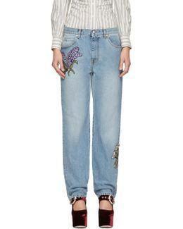 Blue Embroidered Floral Boyfriend Jeans