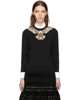 Black Embroidered Eagle Sweater