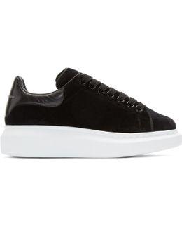 Black Velvet Oversized Sneakers
