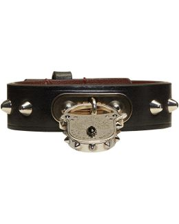Leather Studded Padlock Bracelet