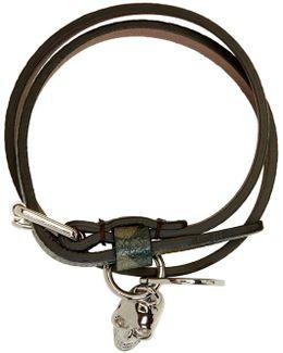 Green Camo Skull Charm Double Wrap Bracelet