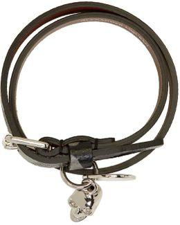 Grey Camo Skull Charm Double Wrap Bracelet
