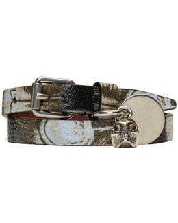 Black & Ivory Skull Charm Double Wrap Bracelet