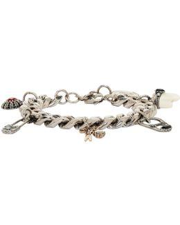 Silver Multi Charm Chain Bracelet