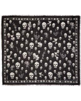Black Romantic Weeds & Skull Pashmina Scarf