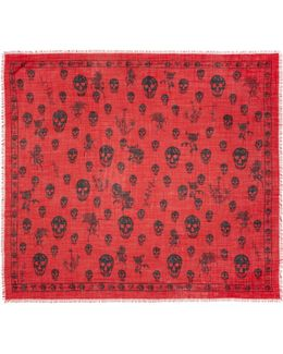Red Romantic Weeds & Skull Pashmina Scarf