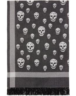 Black & Off-white Skull Blanket Scarf