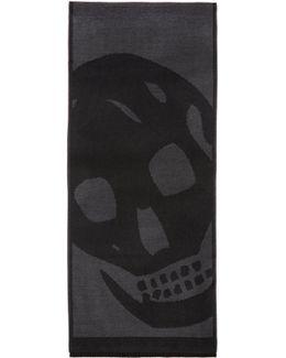 Black & Grey Oversized Skull Scarf