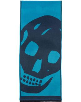 Navy & Blue Oversized Skull Scarf