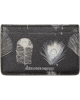 Black & Off-white Peacock Feather Card Holder