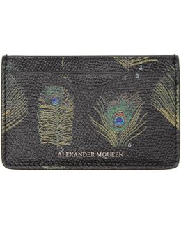 Black & Multicolor Peacock Feather Card Holder
