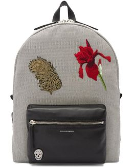Black & Off-white Peacock Feather Backpack