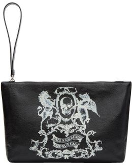 Black Medium 'coat Of Arms' Pouch