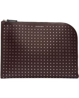 Burgundy Studded Zip Pouch