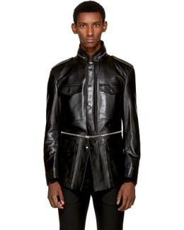 Black Leather Military Jacket