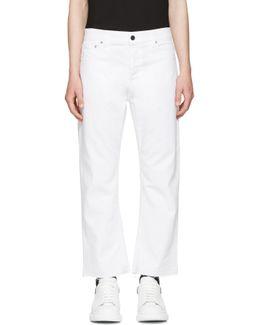 White Slit Hem Kickback Jeans
