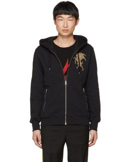 Black Embroidered Lion Zip Hoodie