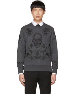 Grey Embroidered Skull Sweatshirt