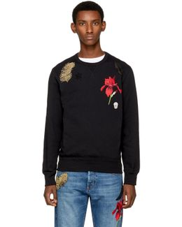 Black Iris & Feather Patch Sweatshirt