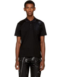Black Embroidered Feather Polo