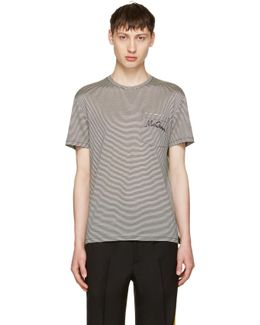 Black & Off-white Striped Pocket T-shirt