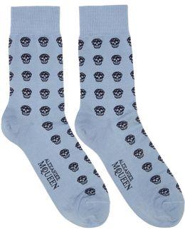 Blue Short Skull Socks