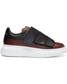 Burgundy Oversized Strap Sneakers