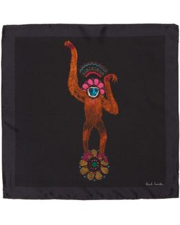 Black Mainline Monkey Pocket Square