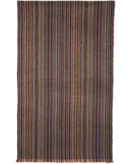 Multicolor Striped Herringbone Scarf