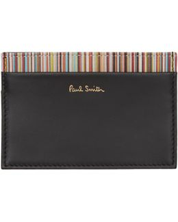 Black Classic Multistripe Card Holder