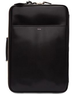 Black Leather Carry-on Trolley Suitcase