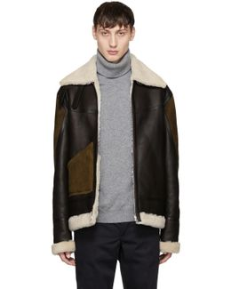 Brown Panelled Shearling Jacket