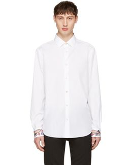 White Embroidered Cuff Shirt