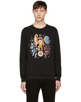 Black Embroidered Monkey Sweatshirt