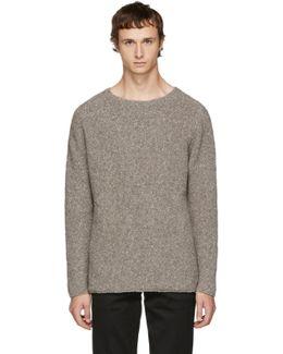 Beige Wool Bouclé Sweater