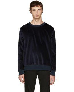 Navy Velvet Sweatshirt