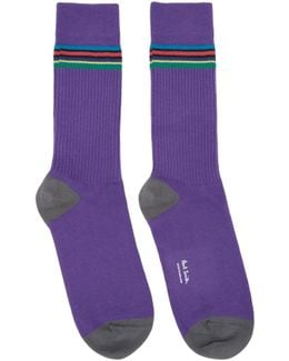Purple Double Rib Socks