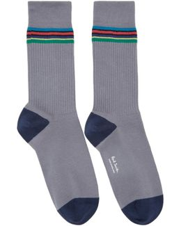 Grey Duo Rib Socks