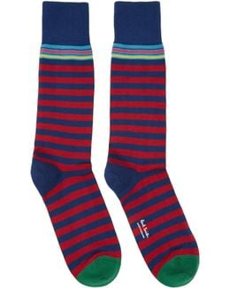 Navy & Red Two Stripe Socks