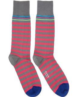 Pink & Grey Two Stripe Socks