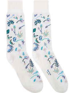 White Earth Floral Socks